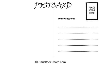 White Empty Postcard Template with Copy Area