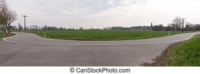 Empty curved asphalt road panorama