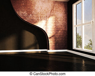 empty dark room with a large window
