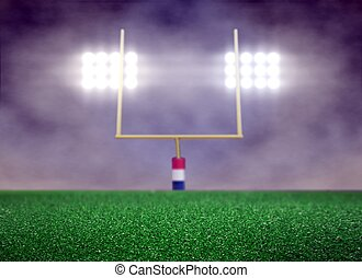Empty Football Field and Spotlight