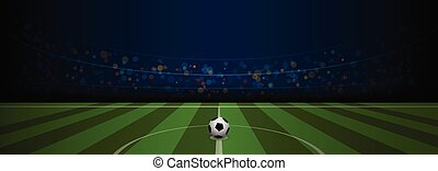Empty football field arenal stadium with realistic football on center, vector illustration