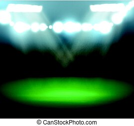 Empty Football Field With Spotlights and Lights
