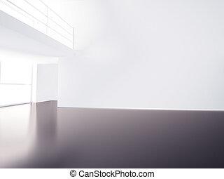 High resolution image hall with columns. 3d illustration interior.