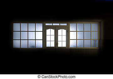 Empty hospital hall with internal window