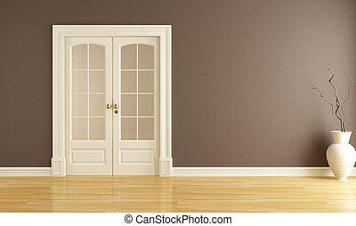 empty interior with sliding door