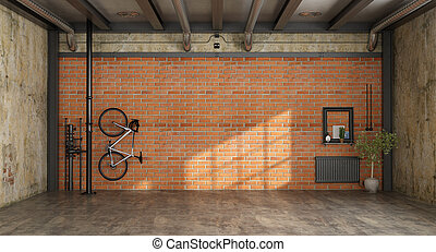 Empty room in a loft