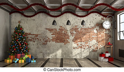 Empty room in a loft with Christmas tree