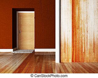 a door and a carpet near it