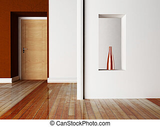 a door and a niche
