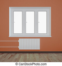 Empty room with a plastic window