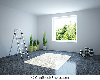Empty room with a stepladder