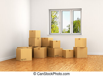 Empty room with a window and white walls with moving cardboard boxes on the floor. 3d illustration