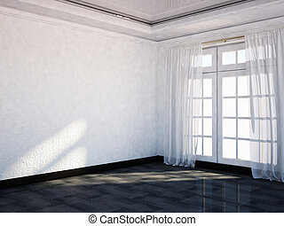 empty room with the big window,