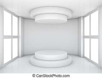 Empty showcase in white room with window