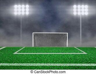 Empty Soccer Field and Spotlight