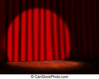 Empty Stage with Red Curtains