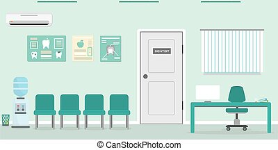 Empty Waiting room for patients in the dental office.Reception desk