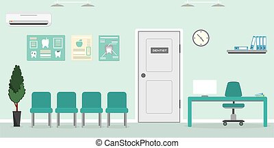 Empty Waiting room for patients in the dental office.Reception desk,