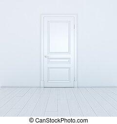 Empty White Interior With A Door