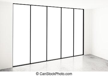empty white room with big window