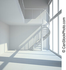Empty white room with staircasel in waiting for tenants illustration