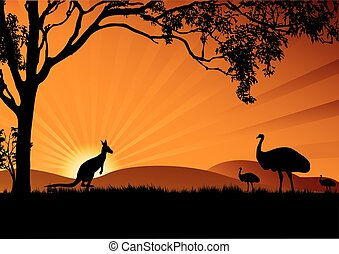 a silhouette of emus and kangaroo in the sunset