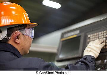 Engineer operating machine