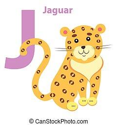 English Nursery card with Lilac Character J Jaguar