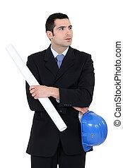 Entrepreneur standing on white background