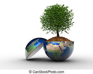 Tree grown in Earth globe section - 3d render