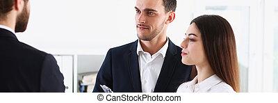 Escort service interpreter works with transaction