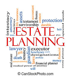 Estate Planning Word Cloud Concept with great terms such as , tenancy, durable, will, financials, lawyer, executor, probate and more.