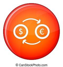Euro dollar euro exchange icon, flat style