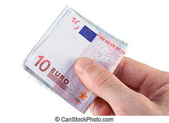 Man's hand holding Euro bank notes for payment