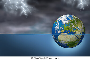 European Financial Crisis as an earth planet of European union drowning in debt sinking in water during a storm with lightning as an economic Euro debt warning and banking crisis with countries as France Italy Greece Spain Portugal.