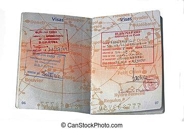 European passport and visa of Burkina Faso