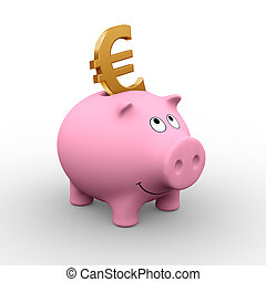 A golden Euro in a pink piggy bank (3D rendering) - A clipping path is embedded to isolate the subject (no shadow)