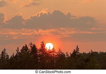 evening sky with sun