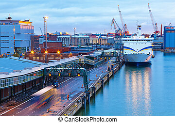 Evening view of the Port of Helsinki, Finland