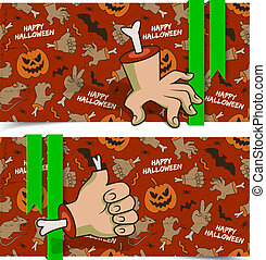 Evil Cartoon Halloween Horizontal Banners