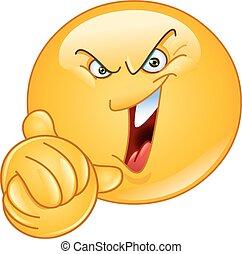 Evil emoticon with wringing hands