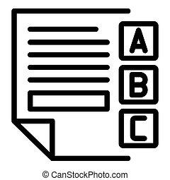 Examination sheet icon, outline style
