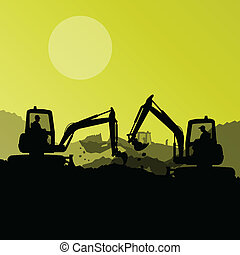 Excavator loaders, hydraulic machines, tractors and workers digging at industrial construction site vector background illustration