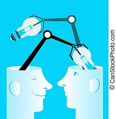 Exchange of ideas. Bulbs in heads