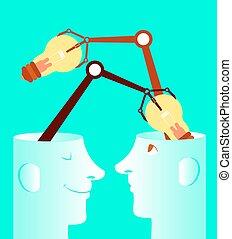Exchange of ideas. Light bulbs. Concept