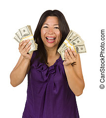 Excited Multiethnic Woman Holding Hundreds of Dollars