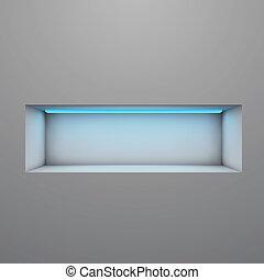 Exposition shelf illuminated with neon light vector illustration.