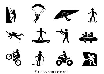 Extreme sports or adventure icons