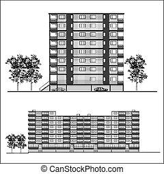 Facade - Habitation building, vector