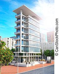 Facade of new modern apartment building. 3d illustration